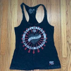 Women's Affliction tank top with rhinestones